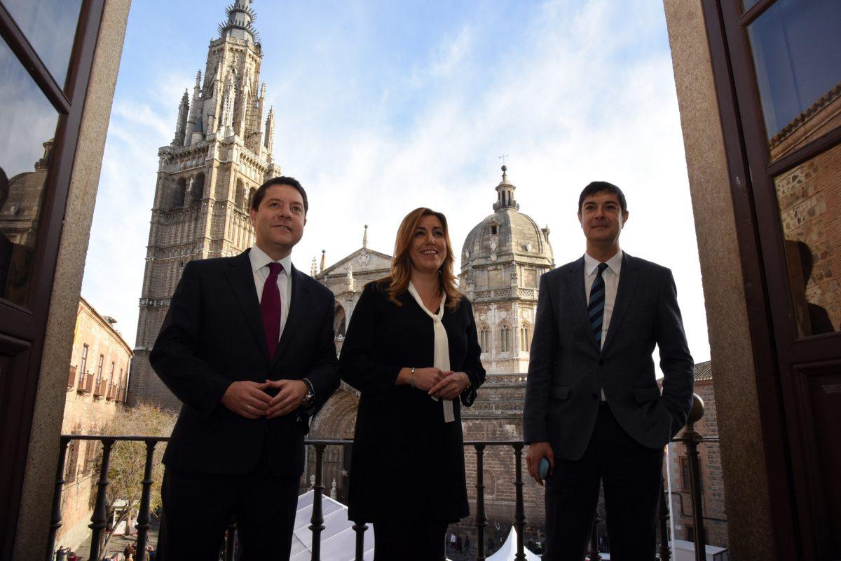 La presidenta de Andalucía, Susana Díaz, visita el Ayuntamiento de Toledo acompañada del alcalde Emiliano García-Page