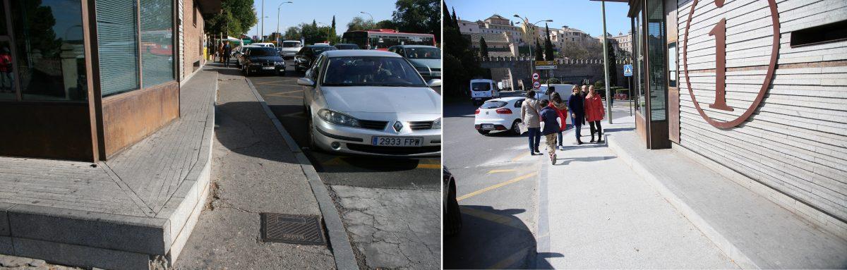 La alcaldesa supervisa las obras de mejora en accesibilidad realizadas en el entorno de la Puerta de Bisagra