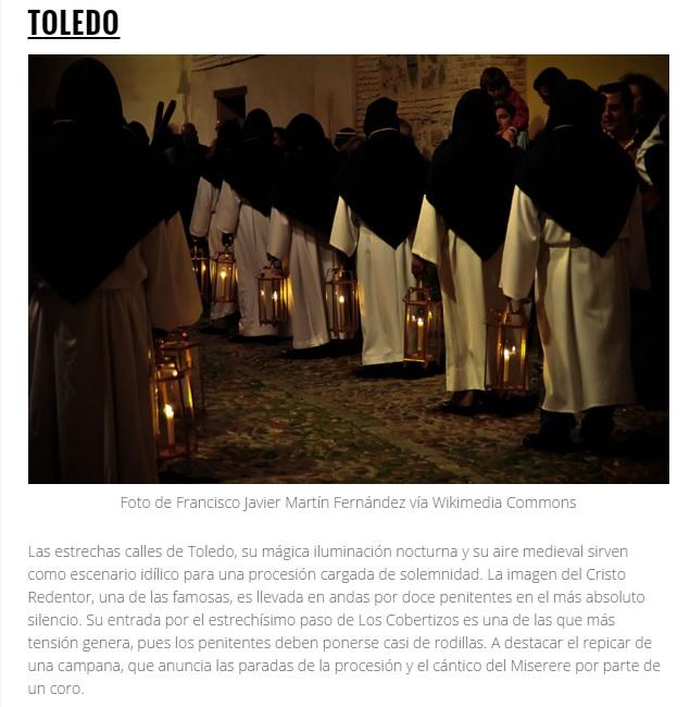 Tolón valora la elección de la Semana Santa de Toledo como una de las mejores de España a través de la web Tripadvisor