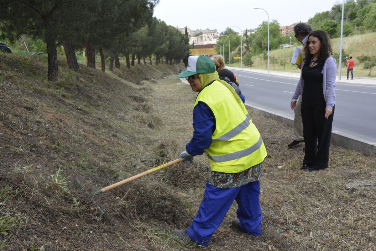 Trabajadores del Plan de Empleo municipal ultiman la limpieza y desbroce en los principales accesos de entrada a Toledo