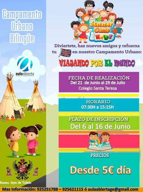 http://www.toledo.es/wp-content/uploads/2016/06/sin-titulo.jpg. El Ayuntamiento organiza el 'Campamento Urbano Bilingüe' del 21 al 30 de junio y del 1 al 29 de julio en el Colegio Santa Teresa