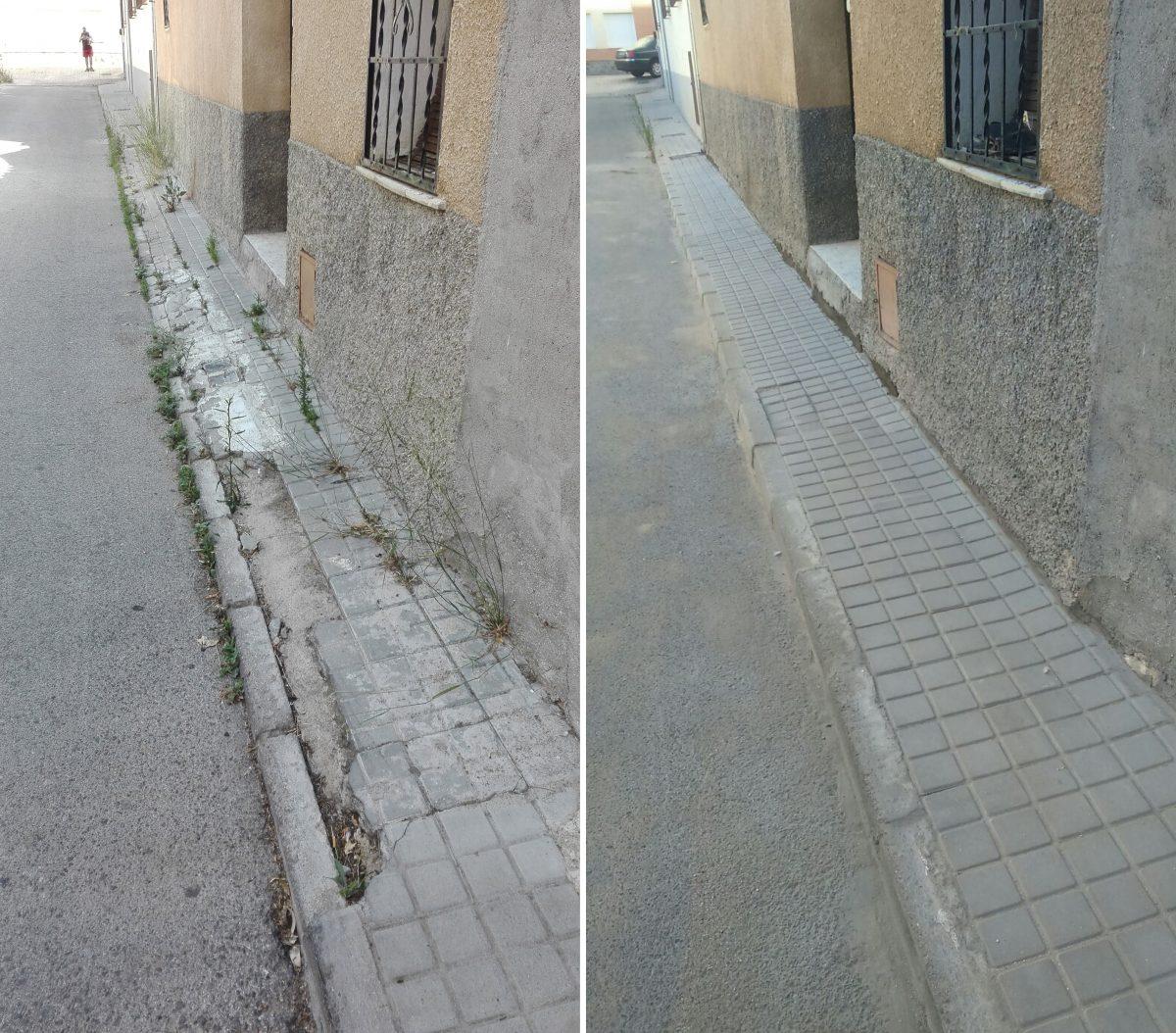 El Ayuntamiento acomete mejoras en el acerado de diversas vías del barrio de Azucaica