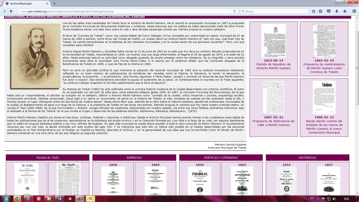 http://www.toledo.es/wp-content/uploads/2016/10/mgamero-1200x675.jpg. El Archivo Municipal incorpora a su web las obras del toledanista Martin Gamero.