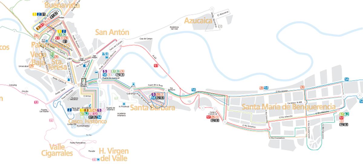 Plano de autobuses urbanos de Toledo
