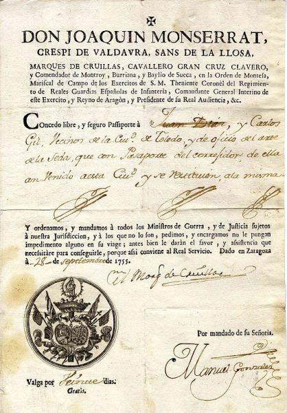 01 Pasaporte dado por el presidente de la Real Audiencia de Aragón a dos vecinos de Toledo Año 1755