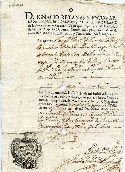 01 Pasaporte dado por Ignacio Retana Escovar, corregidor de Antequera Año 1771