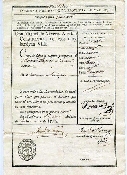 02 Pasaporte dado por el alcalde de Madrid a un vecino de esta ciudad Año 1822 Anverso