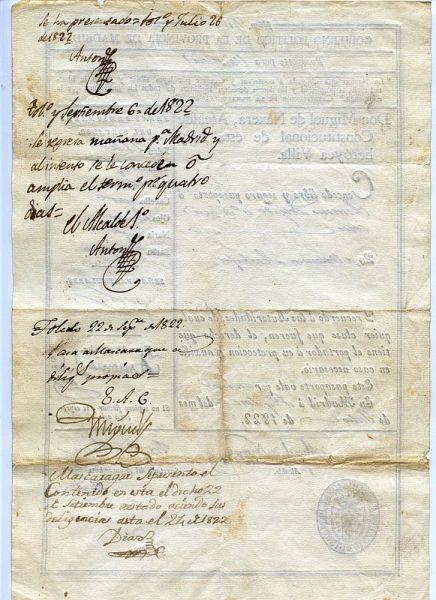 02 Pasaporte dado por el alcalde de Madrid a un vecino de esta ciudad Año 1822 Reverso
