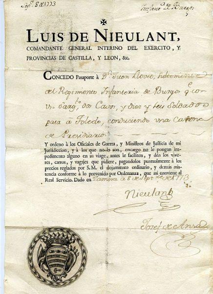 02 Pasaporte dado por Luis de Nieulant, comandante general Interino del Ejército Año 1773