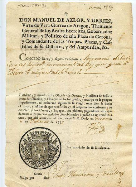 03 Pasaporte dado por Manuel de Azlor y Urries, gobernador militar y político de Gerona Año 1775