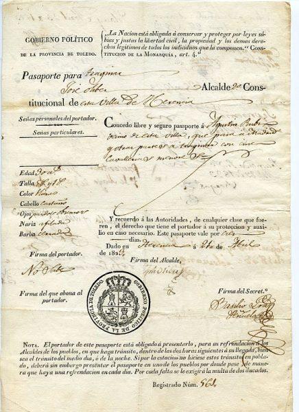 04 Pasaporte dado por el alcalde de Herencia a un vecino de esta localidad toledana Año 1823 Anverso