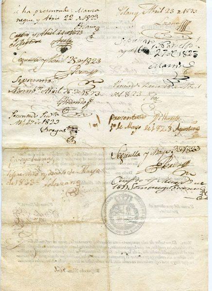 04 Pasaporte dado por el alcalde de Herencia a un vecino de esta localidad toledana Año 1823 Reverso