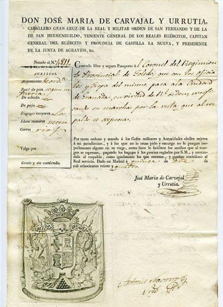 05 Pasaporte dado por José María de Carvajal y Urrutia, capitán general del Ejército y provincia de Castilla La Nueva Año 1824