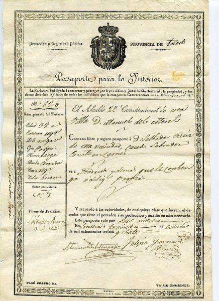 05 Pasaporte para lo interior dado por el alcalde de Sonseca a un vecino de esta localidad toledana Año 1837 Anverso
