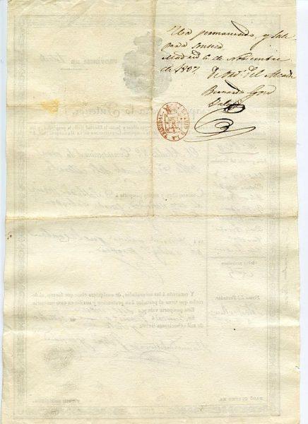 05 Pasaporte para lo interior dado por el alcalde de Sonseca a un vecino de esta localidad toledana Año 1837 Reverso
