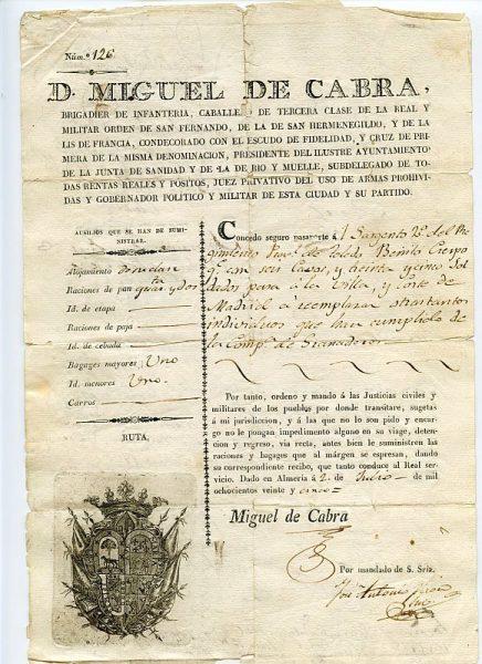 06 Pasaporte dado por Miguel de Cabra, gobernador político y militar de Almería Año 1825