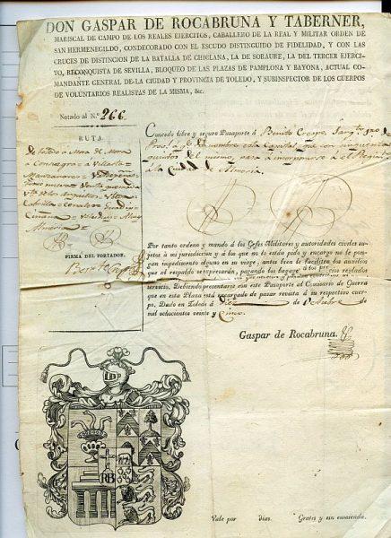 07 Pasaporte dado por Gaspar de Rocabruna y Taberner, comandante general de la ciudad y provincia de Toledo Año 1825