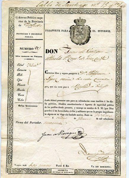 07 Pasaporte para lo interior dado por el alcalde de Toledo a una vecina de esta ciudad Año 1840 Anverso
