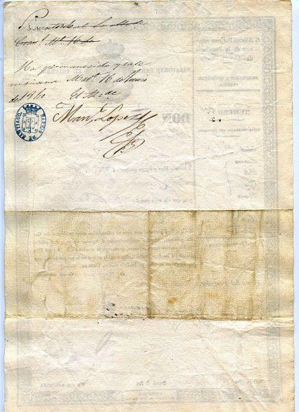 07 Pasaporte para lo interior dado por el alcalde de Toledo a una vecina de esta ciudad Año 1840 Reverso