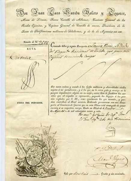 08 Pasaporte dado por Juan Caro Sureda Valero y Togores, capitán general de Castilla La Nueva Año 1828
