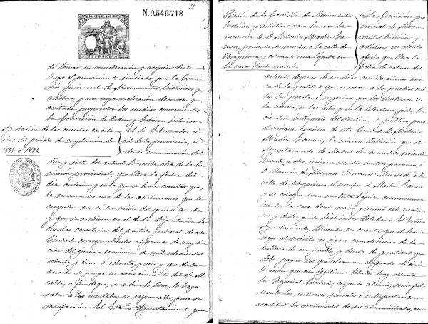 1887-02-23_Propuesta de dedicatoria de calle a Martín-Gamero