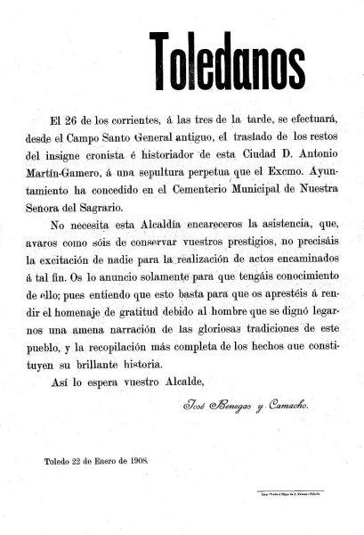 1908-01-22_Bando dando cuenta del traslado de los restos de Martín-Gamero al nuevo Cementerio Municipal