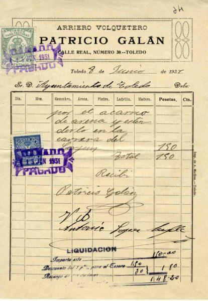 1931 Arriero y volquetero Patricio Galán