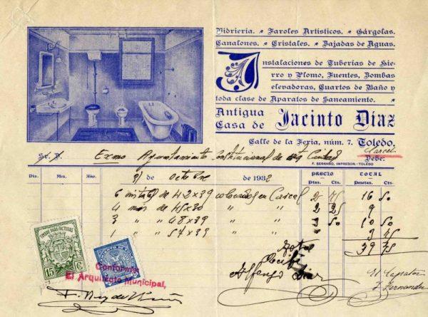 1932 Instalaciones y aparatos de saneamiento Antigua Casa de Jacinto Díaz
