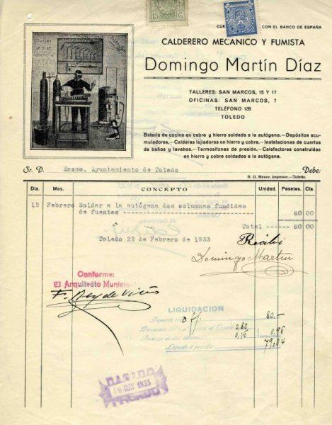 1933 Calderero mecánico y fumista Domingo Martín Díaz