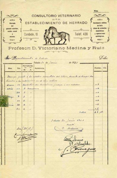 1933 Consultorio veterinario y herrado de Victoriano Medina y Ruiz