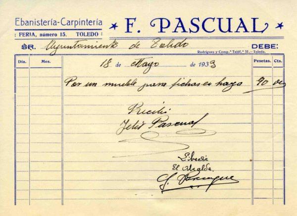 1933 Ebanistería y carpintería de F. Pascual