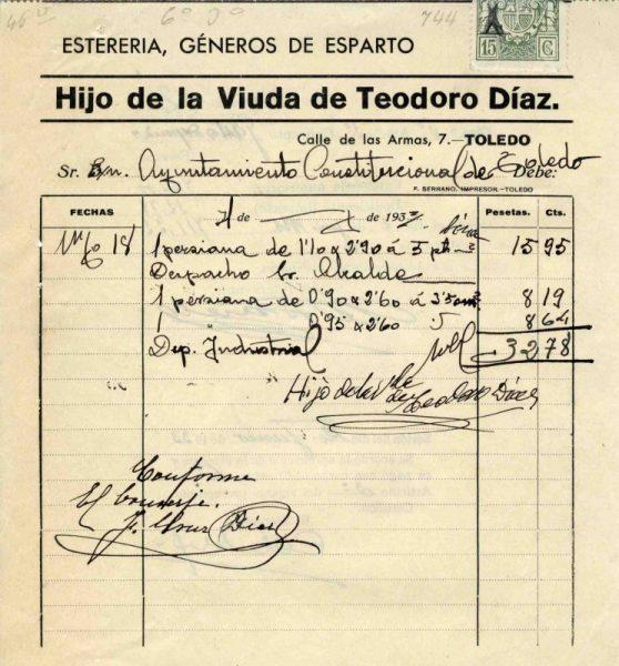 1933 Esterería del hijo de la viuda de Teodoro Díaz