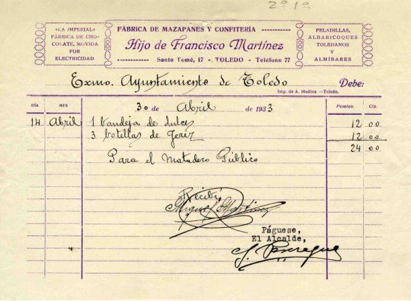 1933 Fábrica de mazapanes del hijo de Francisco Martínez