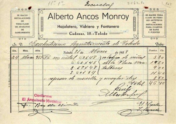 1933 Hojalatero y vidriero Alberto Ancos Monroy