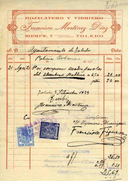 1933 Hojalatero y vidriero Francisco Martínez Díaz