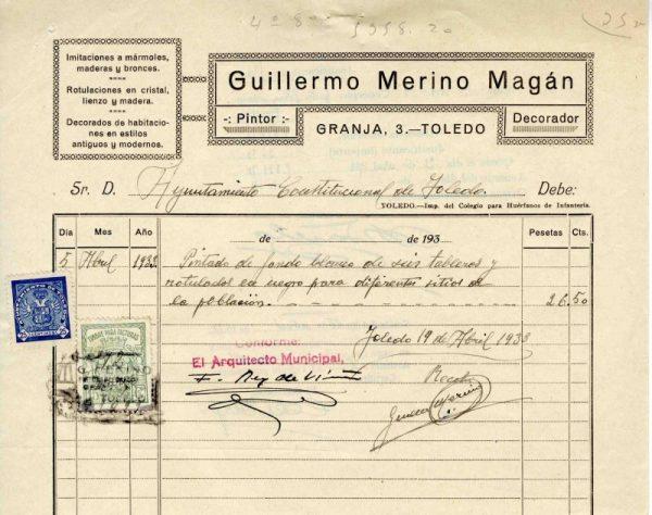 1933 Pintor decorador Guillermo Merino Magán