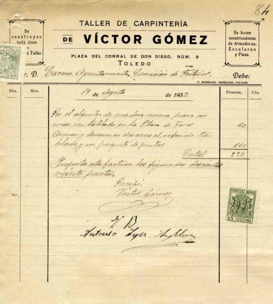 1933 Taller de carpintería de Víctor Gómez