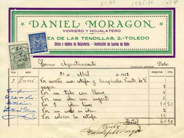 1933 Vidriero y hojalatero Daniel Moragón