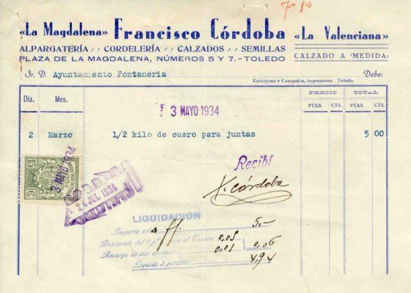 1934 Alpargatería de Francisco Córdoba