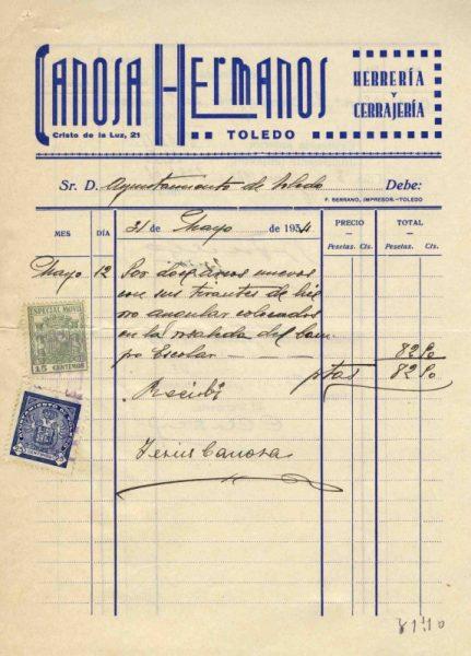 1934 Herrería y cerrajería de los hermanos Canosa