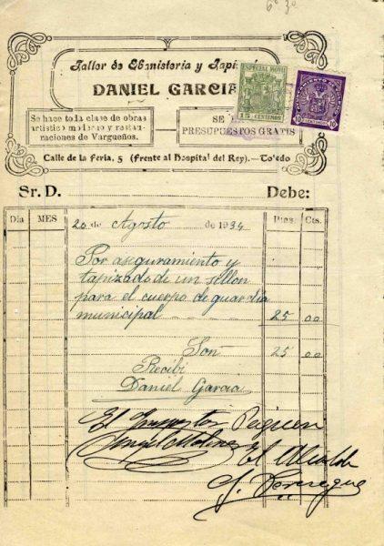 1934 Taller de ebanistería y tapicería de Daniel García