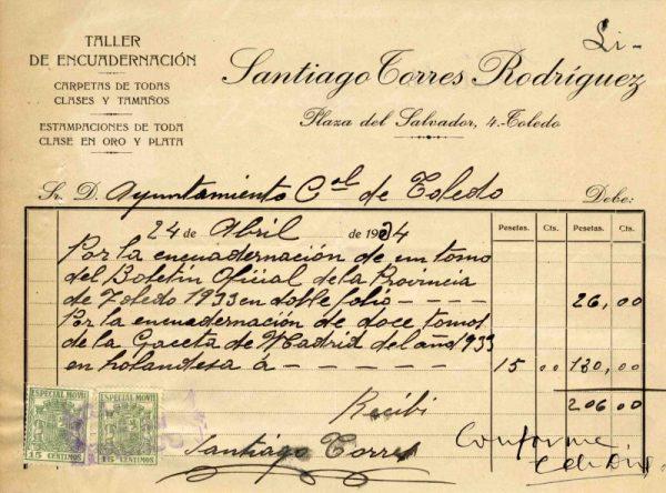 1934 Taller de encuadernación de Santiago Torres Rodríguez