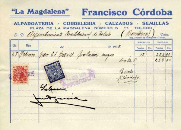 1935 Alpargatería de Francisco Córdoba