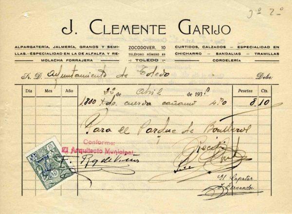 1935 Alpargatería, jalmería de J. Clemente Garijo