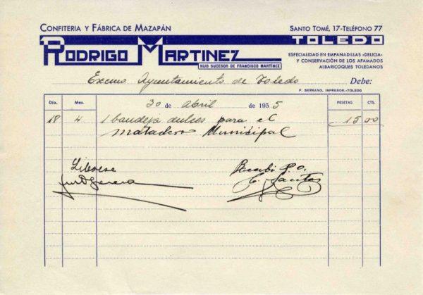 1935 Confitería y fábrica de mazapán de Rodrigo Martínez