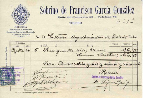 1935 Mercería del Sobrino de Francisco García González