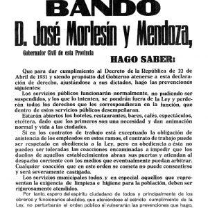 1935_Bando del Gobernador Civil de 25 de abril de 1935