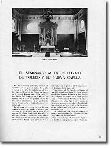 EL SEMINARIO METROPOLITANO DE TOLEDO Y SU NUEVA CAPILLA - Eduardo Lagarde y Esteban Riera - 1950-98