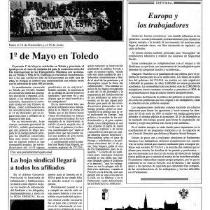 1989_La Hoja Sindical de CCOO de Toledo de 1 de mayo de 1989