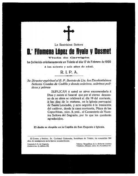 36 17-02-1920 Filomena López de Ayala y Dusmet